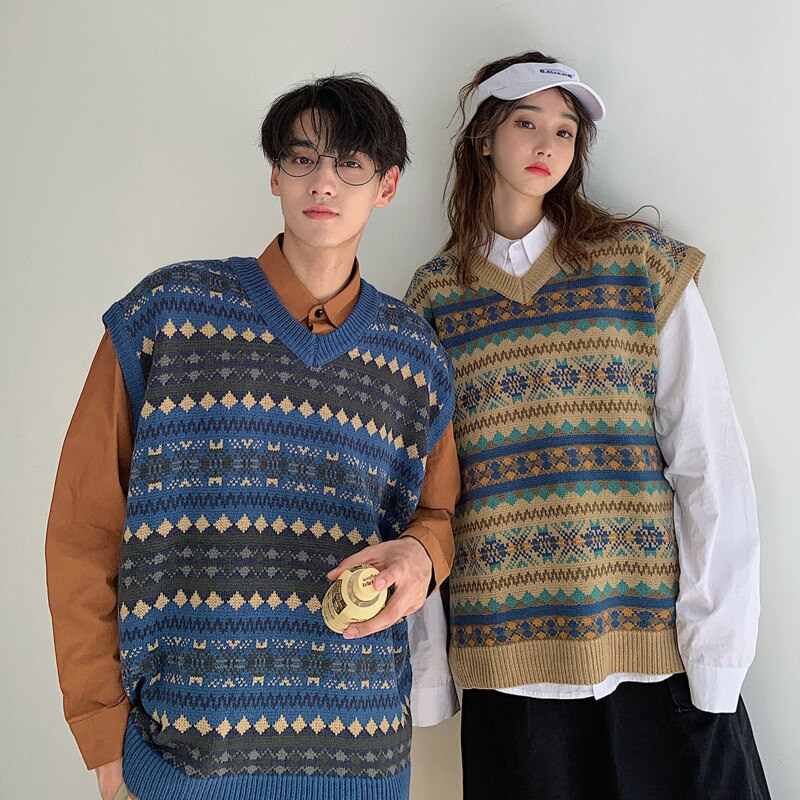 Sweater Vest Men's Fashion Retro Casual V-neck Knitted Pullover Men Streetwear Male Clothes Wild Loose Couple Sweater S-XL