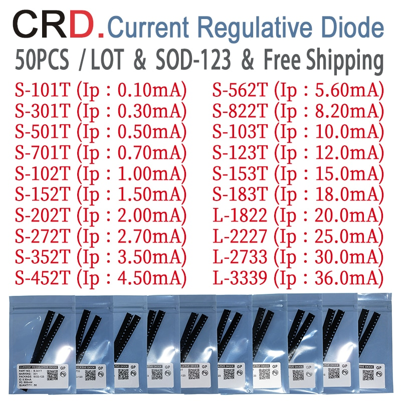 50PCS/LOT CRD Diode kit S-101T S-301T S-501T S-701T S-102T S-152T S-202T S-272T S-352T S-452T SOD-123 CURRENT REGULATIVE DIODES