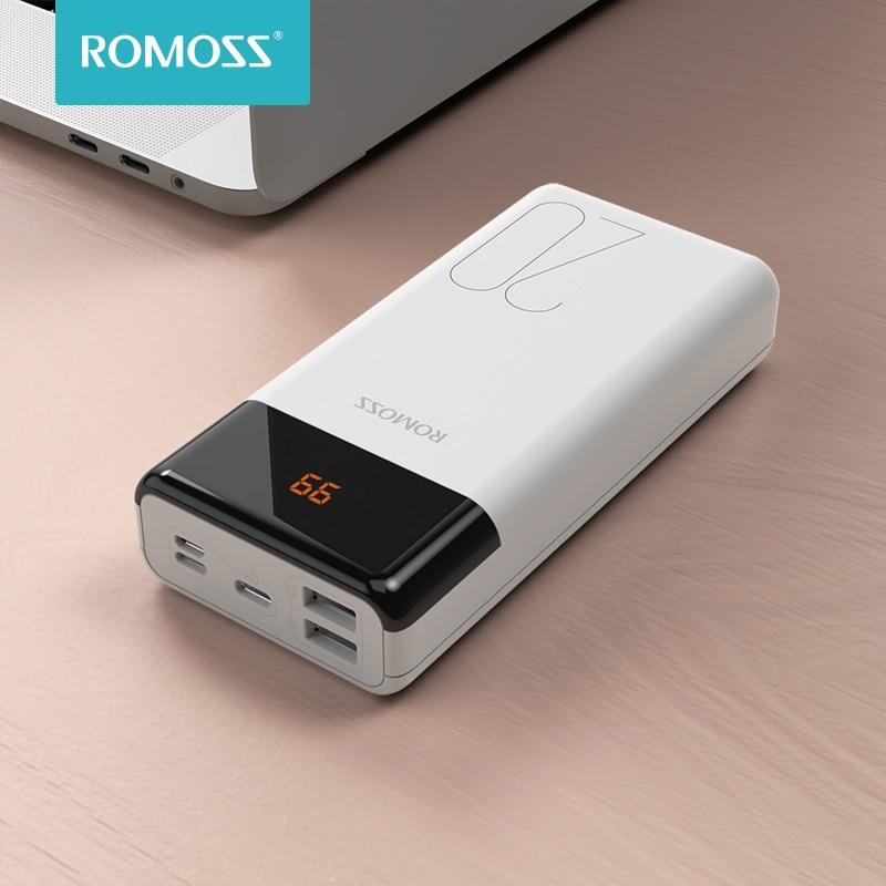 Romoss lt20ps 20000 mah power bank dupla usb powerbank 20000 mah bateria externa com display led para telefones celulares poverbank