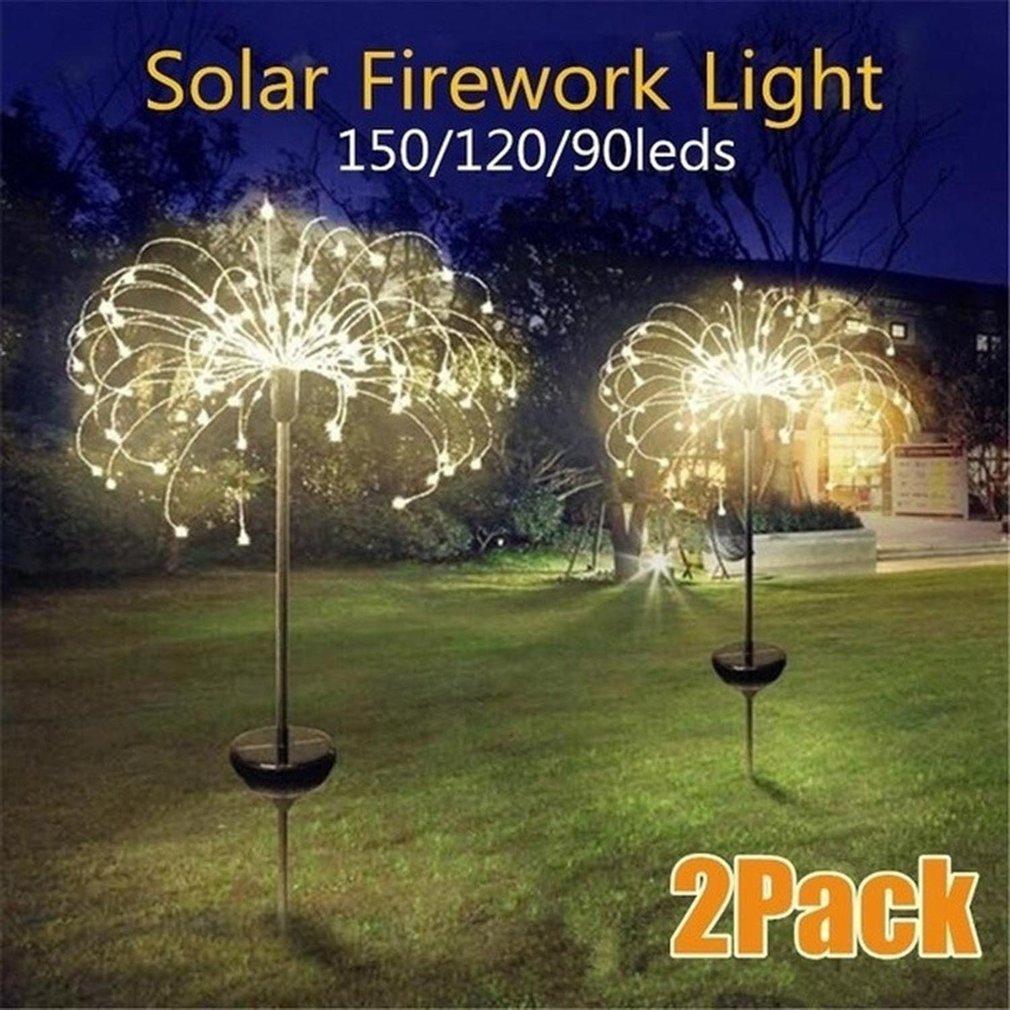 2pcs Solar Powered Outdoor Grass Globe Dandelion Fireworks Lamp 90/120/150 LED For Garden Lawn Landscape Lamp Holiday Light