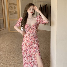 French Design Mid-Length Sexy Party Beach Bodycon Office Casual Korean Floral Dress Elegant Women Su