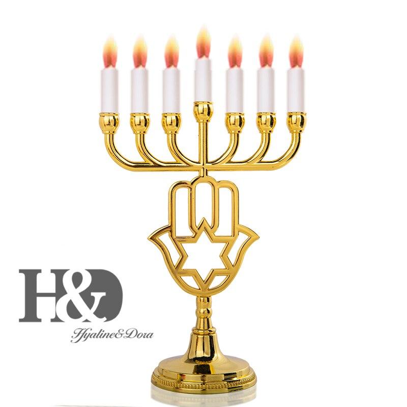 H & D 12 قبائل من إسرائيل القدس معبد الشمعدان اليهودية شمعة حامل 7 فروع هانوكا الشمعدان للديكور (الذهب نجوم داود)