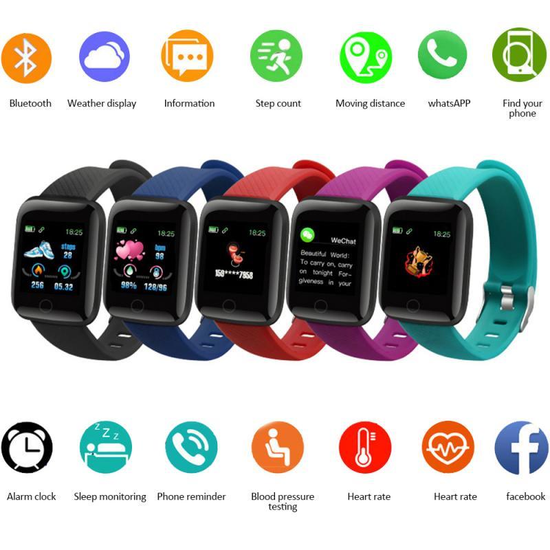 116 Plus Smart Watch Men Women Blood Pressure Monitor Fitness Tracker Bracelet Heart Rate Smartwatch
