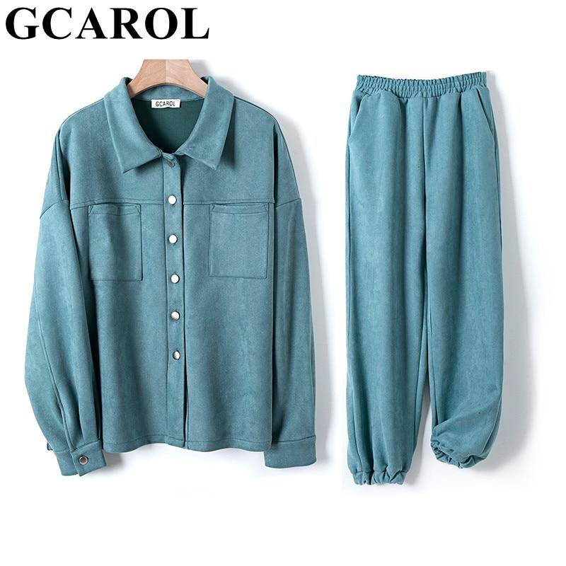 GCAROL Women'tracksuits Velvet Jacket And Pants Drop Shoulder Oversized Jacket Single-Breasted Elastic Waist Overalls Cargo M,L