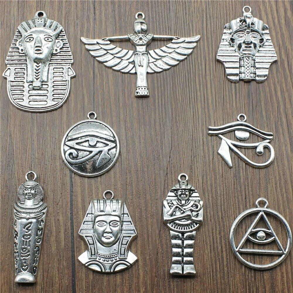 5 pçs faraó egípcio antigo cor de prata o olho de horus encantos para fazer jóias cleópatra pingente encantos