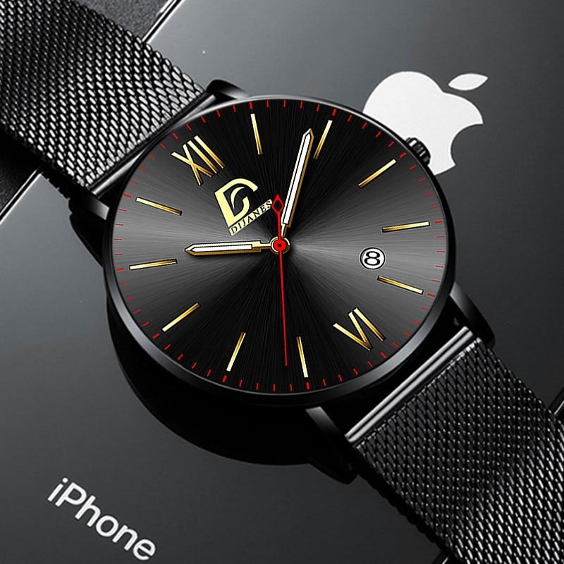Fashion Mens Minimalist Watches Luxury Stainless Steel Mesh Belt Quartz Wrist Watch Men Casual Leath