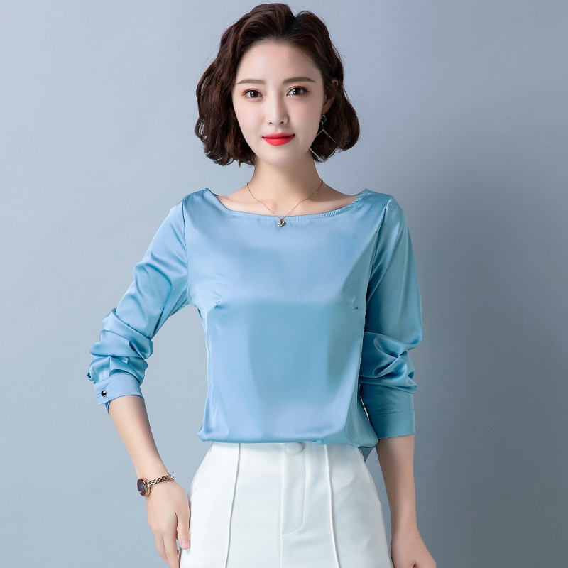 Korean Fashion Silk Women Shirts Long Sleeve Satin Women Blouses Plus Size XXXL Office Lady Womens Tops and Blouses Ladies Tops