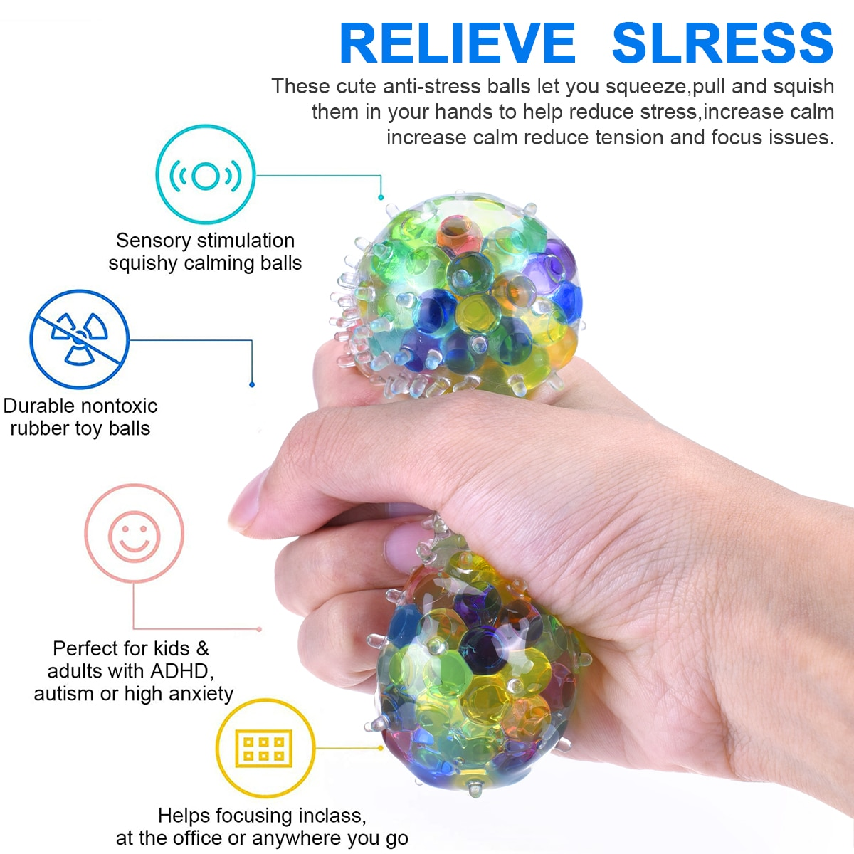 Fidget Toys 6pcs Cute Animal Colorful Soft Water Polo Antistress Squeeze Toy For Kids Childs Adults Stress Relief Funny Gifts enlarge