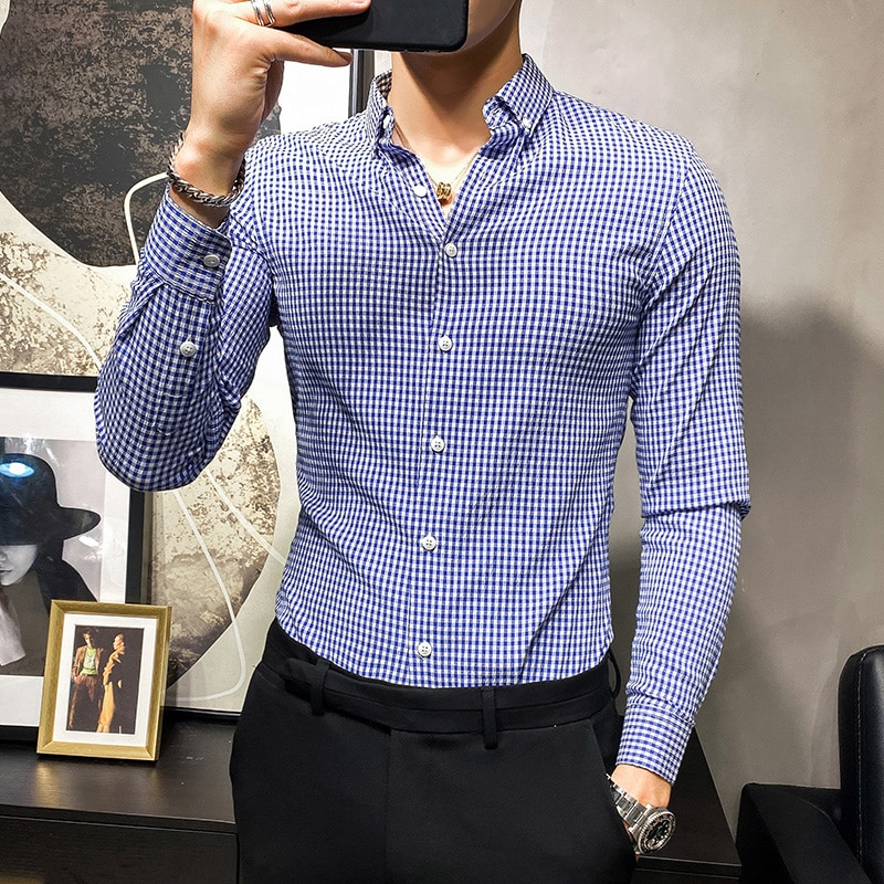 Брендовые мужские рубашки в клетку с длинным рукавом, повседневные деловые формальные рубашки, Весенняя приталенная уличная одежда, вечерн...