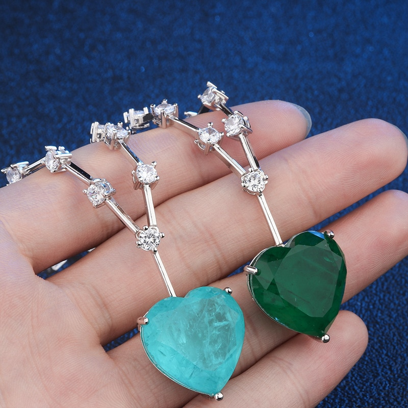 OMYFUN precio de fábrica de lujo piedra de fusión colgante Collar verde/Paraiba corazón cristal Collar encanto Semi Joyas envío gratis N003