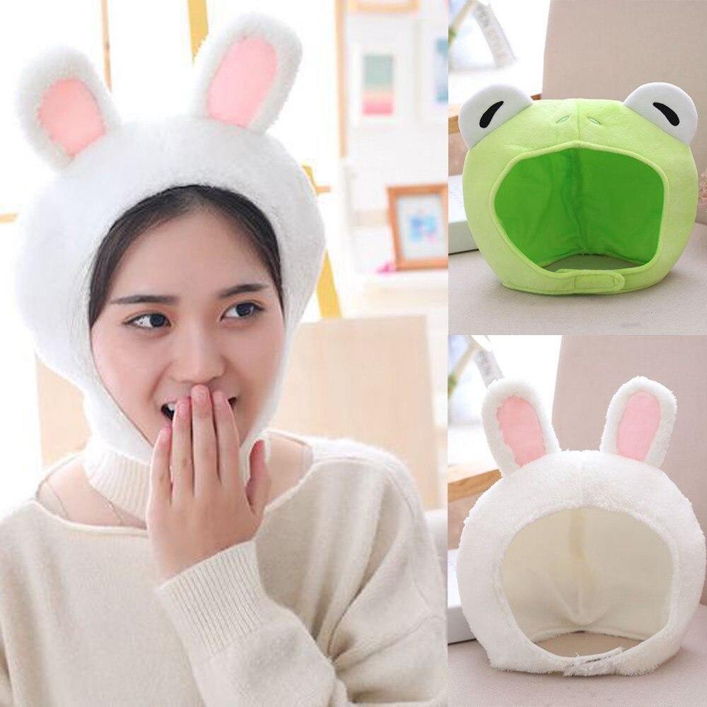 Men Women Winter Hat Rabbit frog Novelty Adult Plush White And Green Animal Ear Hat Headgear Winter Plush Dress Party Headwear