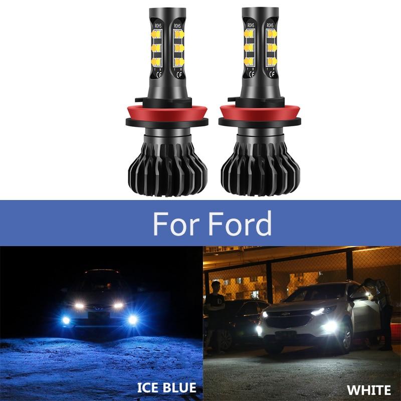2pcs H8 H11 LED Fog Lights Lamp Car Driving Bulbs For Ford Mondeo MK3 MK4 C-MAX S-MAX FOCUS Headlamp Accessories  Super White Re