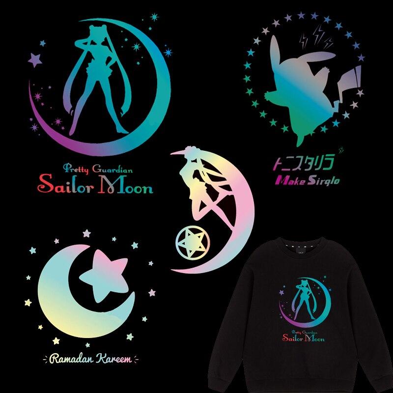 Hot Sailor Moon parches coloridos reflectantes Arco Iris Transferencia de Calor vinilo pegatina Pikachu plancha-on prensa de transferencia para ropa DIY