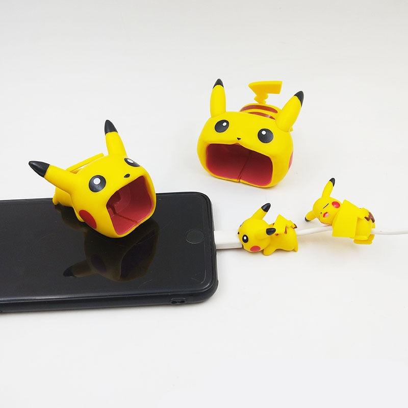 1 unidad de Mini Pokemon Go cargador Usb Cable Protector de mordida para Iphone android dibujos animados Cable cargador Protector accesorios de teléfono