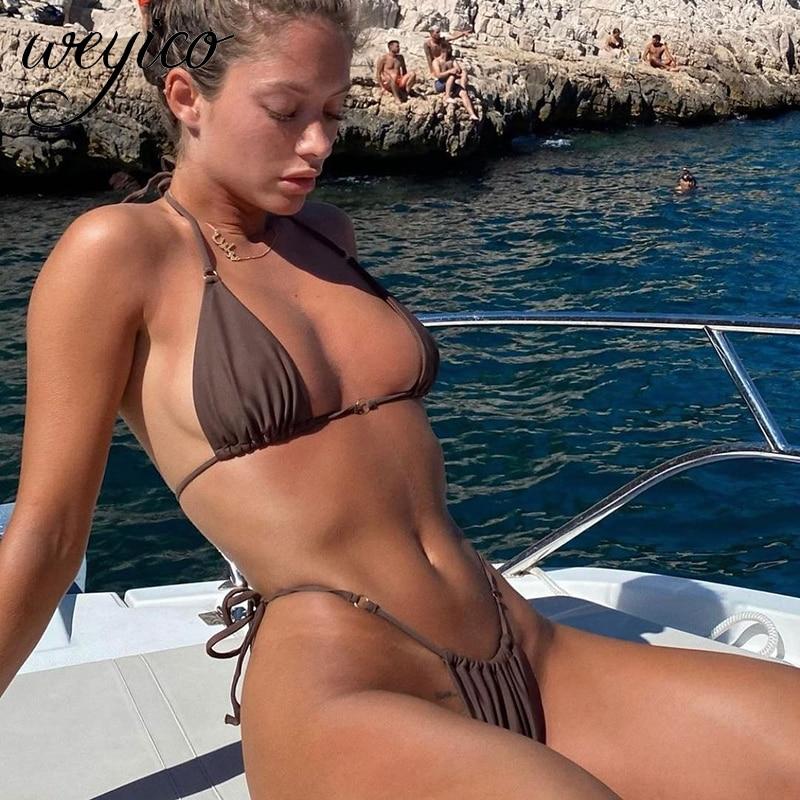Sexy Bikini Set Women 2021 Swimsuit Halter Push Up Micro Female Bathing Suit Summer Beach Wear Swimm