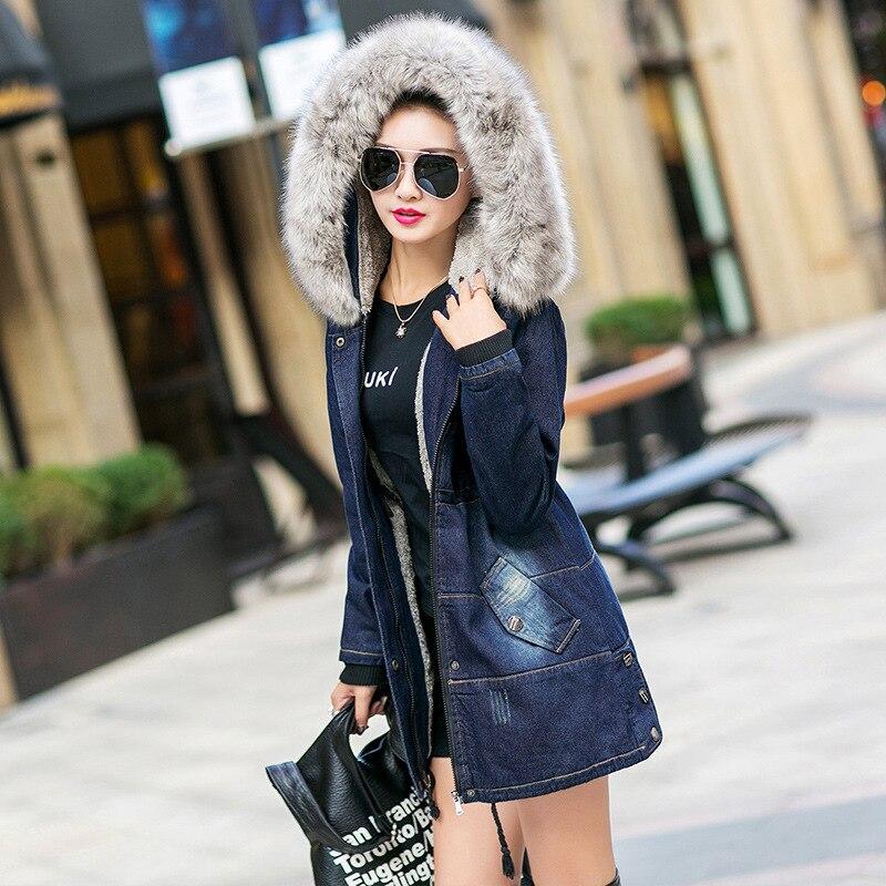 Invierno Denim Mujer chaqueta de Parka acolchado largo Chaqueta de algodón con...