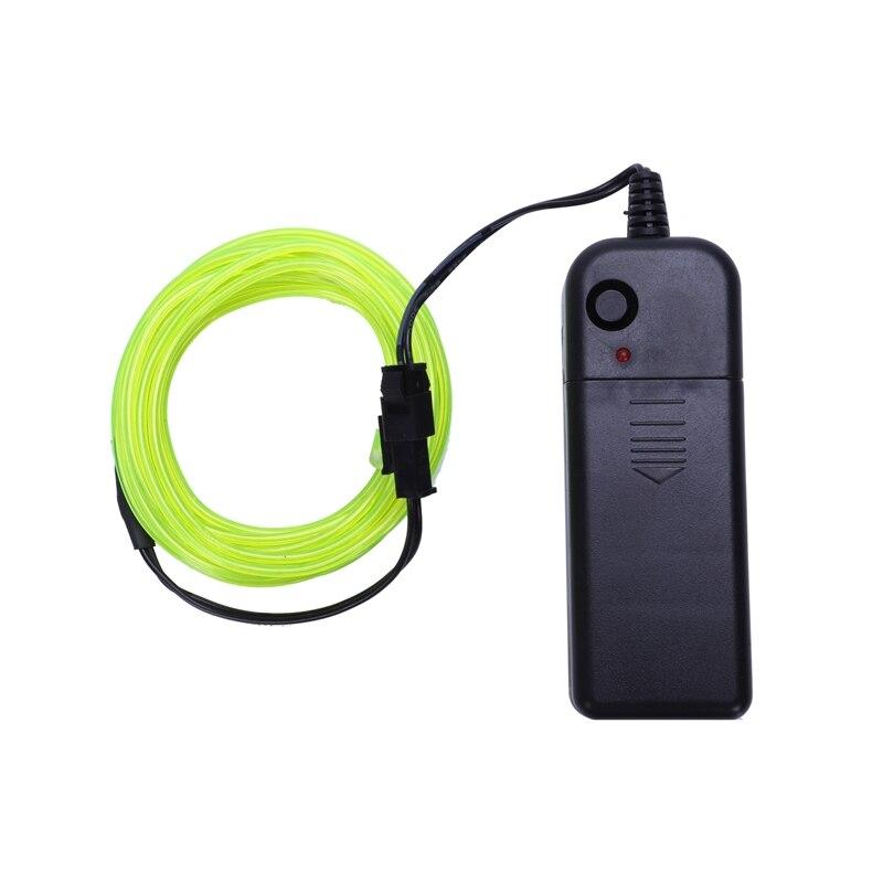 Novo Neon Glowing Eletroluminescente Wire (El Wire) com Bateria Controller (Verde Brilhante, 3M)