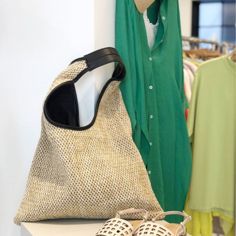 Women's Summer Travel Tote Handbags Fashion Female Straw Woven Shoulder Bags Large Capacity Ladies Handmade Beach Shopper Bag