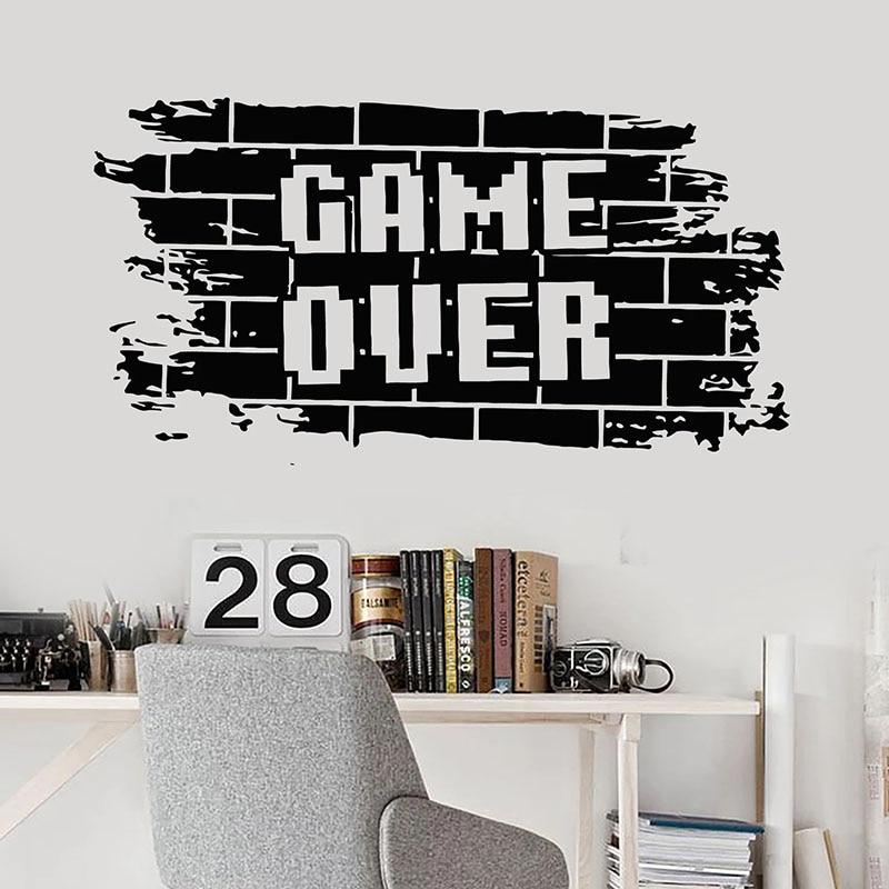 Game Over Wall Decal Bricks Gaming Teens Boys Bedroom Play Room Video Games Home Decor Door Window Vinyl Stickers Mural Q659