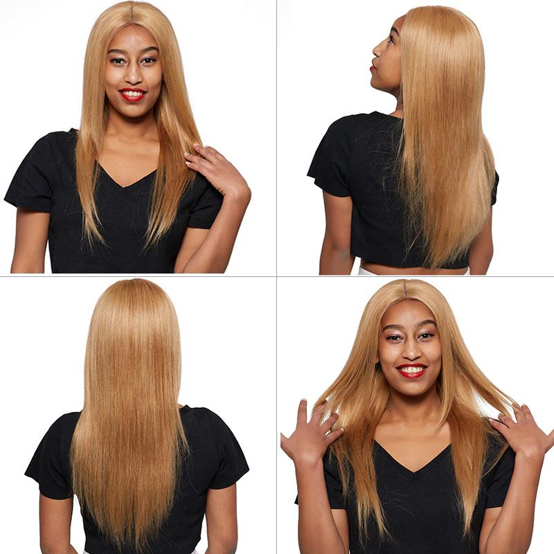 27 Brazilian Honey Blonde Bundles With Closure Straight Colored Bundles With Closure Shining Star Human Hair Remy Weave Bundles