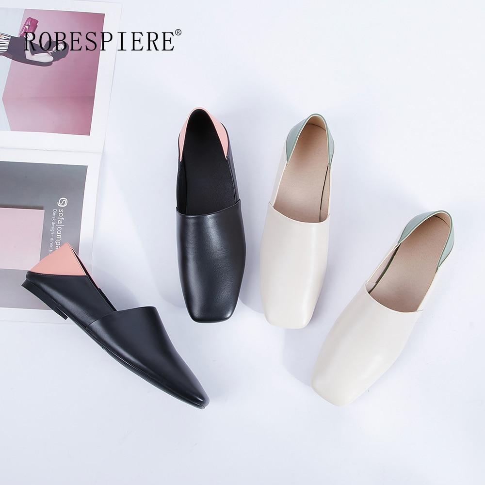 ROBESPIERE mujeres calientes pisos casuales 2019 nuevos colores mixtos zapatos náuticos señora de alta calidad de cuero genuino zapatos bajos antideslizantes A71