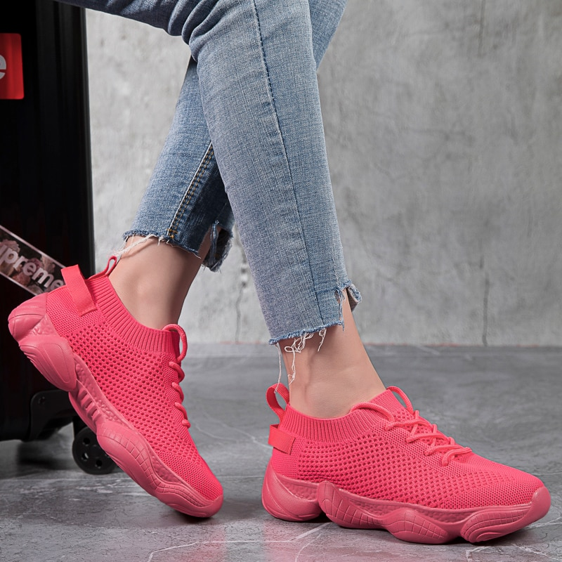 35-44 Plus Size Women Solid Color Sneakers Breathable Running Shoes For Women Comfort Outdoor Casual