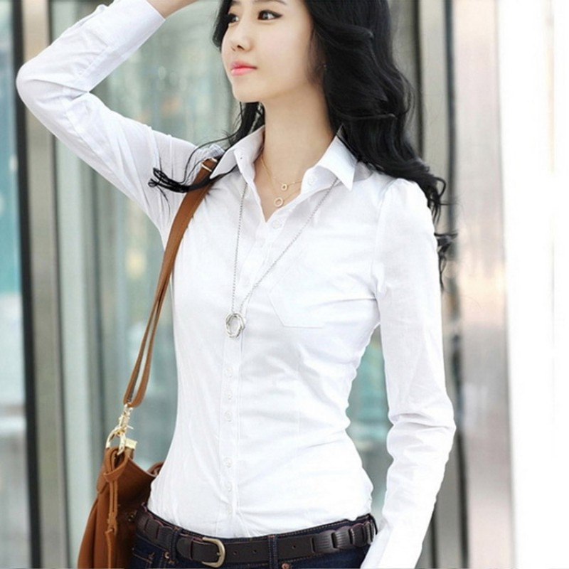 Feminino escritório senhora formal festa de manga longa fino turn-down colarinho blusa topos casual sólido branco camisa ol estilo solto blusas
