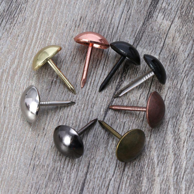 100pcs Antique Brass Upholstery Nails Furniture Tacks Pushpins Hardware Decor Dropshipping