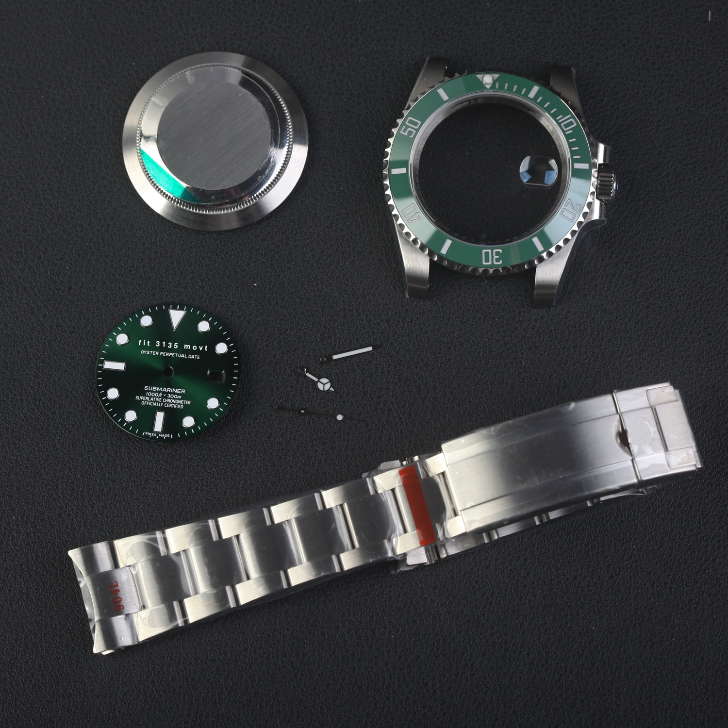116610 submariner style watch parts 904l steel  fit 3135 movement