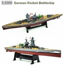 1 1000 German admiral Mini battleship  Armoured ship  Finished warship model  Alloy hull