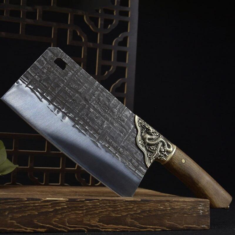 سكاكين مطبخ من الصلب عالي الكربون 7Cr17MoV من Longquan مقاس 8 بوصات من Hanamde سكاكين طهاة صينية مزورة أدوات لحوم العظام والدواجن