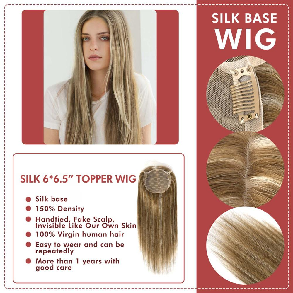 """Neitsi 16"""" 20"""" 6*6.5"""" Straight Silk Base Virgin Cuticle Woman Remy Hair Topper Wig With Clip In Natural Human Toupee Hair Pieces"""