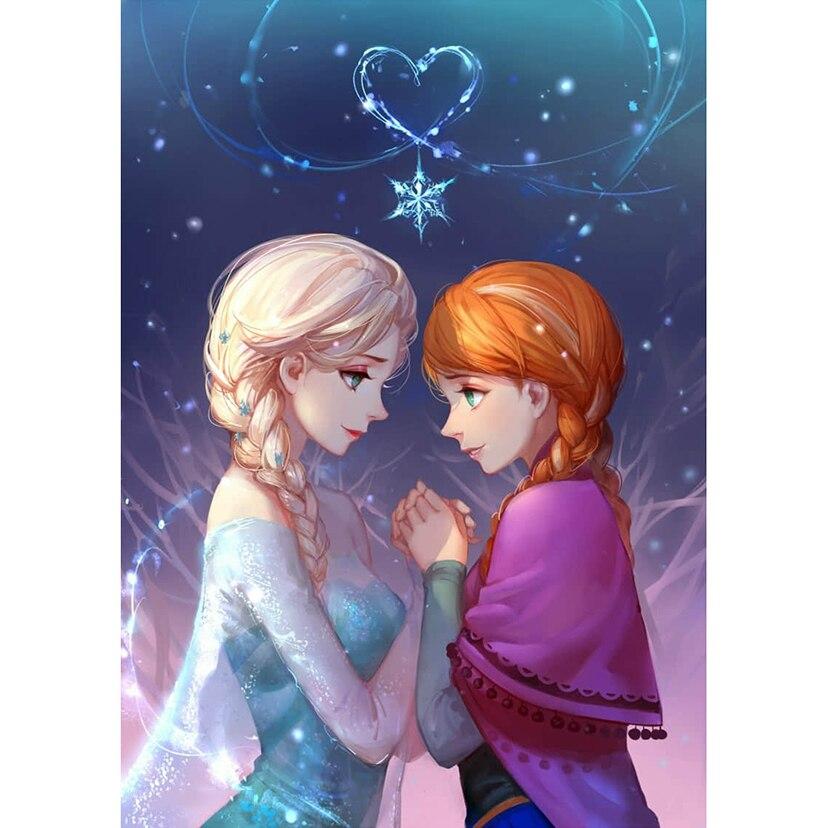 Diamante bordado 5D DIY diamante pintura Frozen princesa hermana strass Cruz Stitch decoración hogar regalo FC211