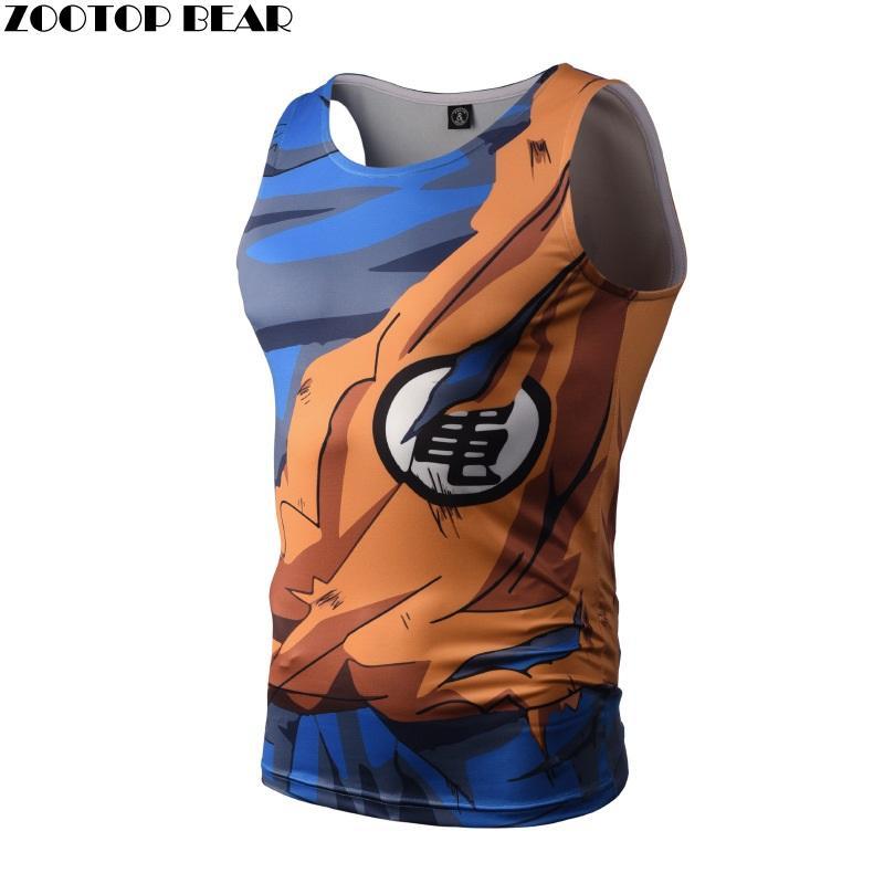 Camisetas sin mangas culturismo Dragon Ball hombres Anime Tops chaleco Naruto Fitness Tops camisetas excelentes Singlets ZOOTOP BEAR