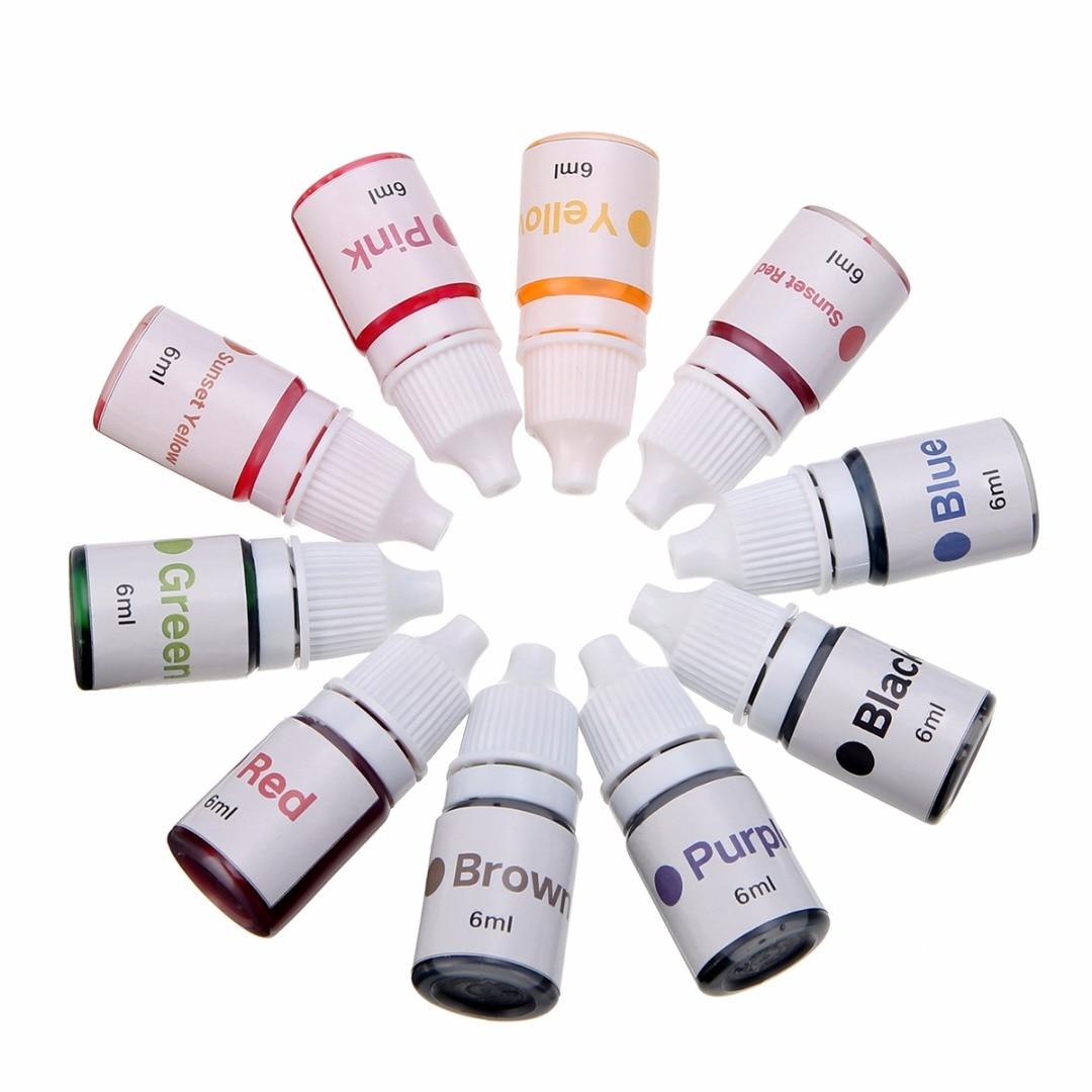 10 botellas de 6ml, pigmentos de tinte de jabón hechos a mano, pigmento líquido de Color Base, Kit de pintura de herramienta de colorante de jabón Manual DIY