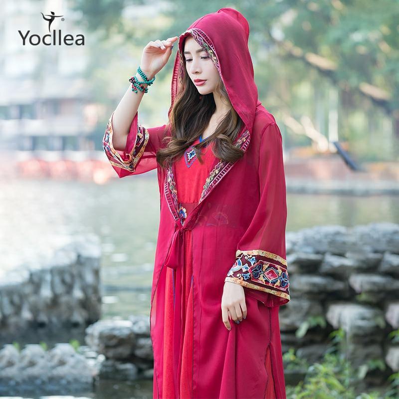 Cárdigan Vintage con capucha para vacaciones de primavera y verano, abrigo bordado, prendas de vestir, abrigo con protección solar fina larga para mujer