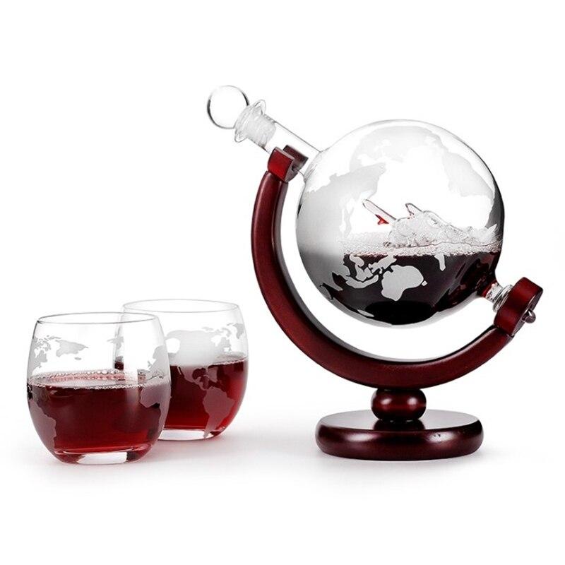 850 ml globo conjunto de garrafa mini globo mapa de garrafa de vidro de vinho conjunto de vinho garrafa de vinho