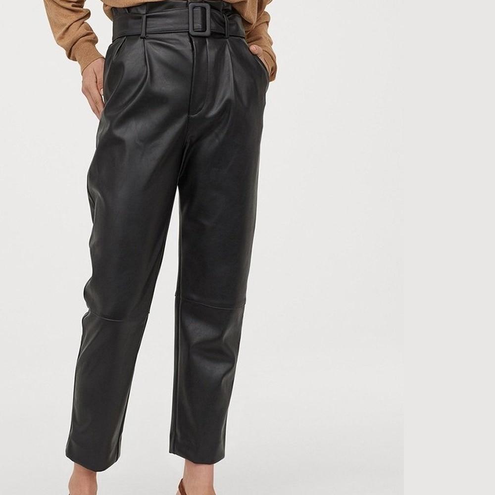 Las mujeres De la señora De alta cintura elástico pantalones con bolsillos...