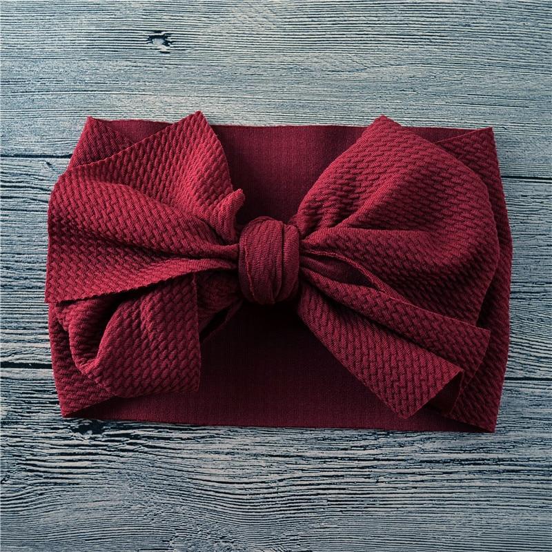 Recién Nacido lazo grande Headwrap un tamaño bebé niña tela desordenada Bow diadema de nailon bebé arcos de pelo turbante Bowknot Tie