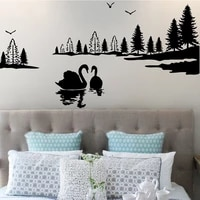 family lake swan nature beautiful wall decal sticker bedroom boys girls bedroom a13 027