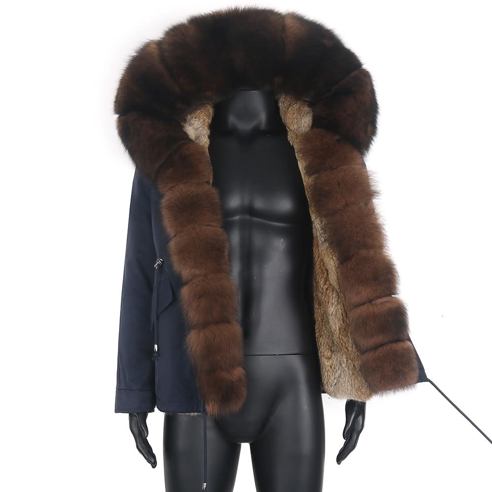 2021 سترة مضادة للماء للرجال سترة سميكة دافئة ملابس خارجية معطف الفرو الحقيقي للشتاء سترة فرو الأرانب الطبيعي بطانة قابلة للفصل