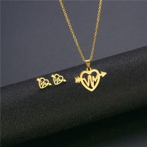 Stainless Steel Heartbeat Gelectrocardiogram in Pierce Heart with Arrow Pendant chain necklace sets choker for women ECG Jewelry