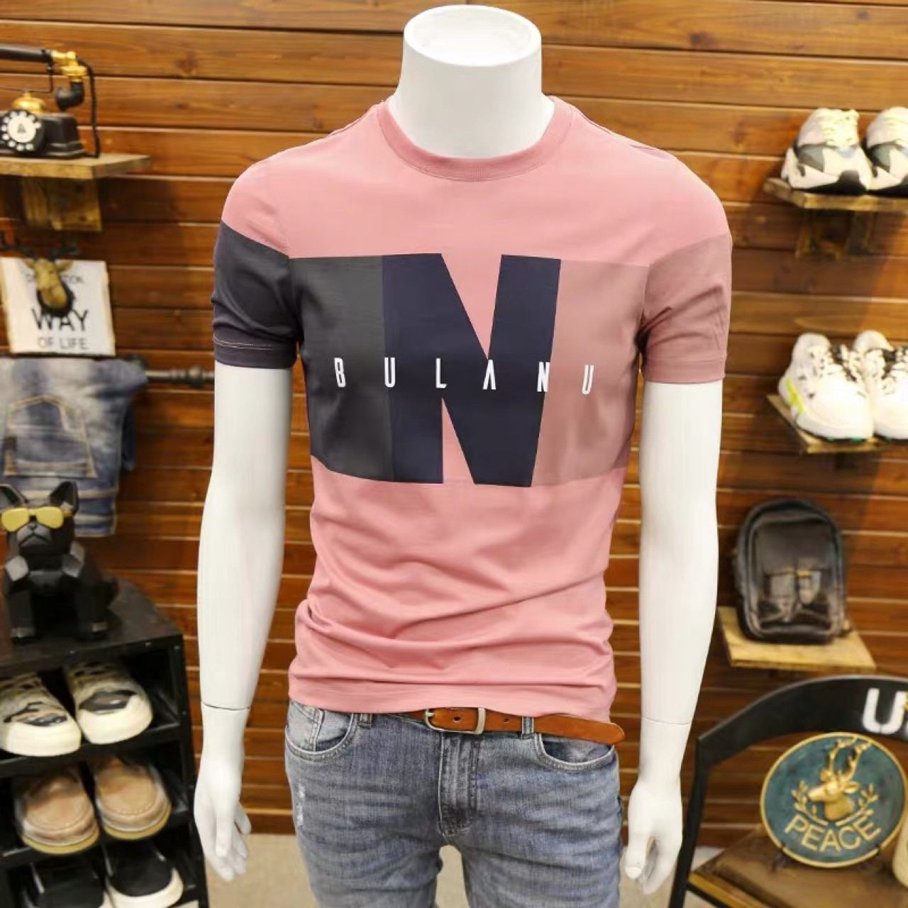 New Summer Men's Short-sleeved Korean Version of The Trend of Self-cultivation Printing T-shirt Fashion Half-sleeved T-shirt