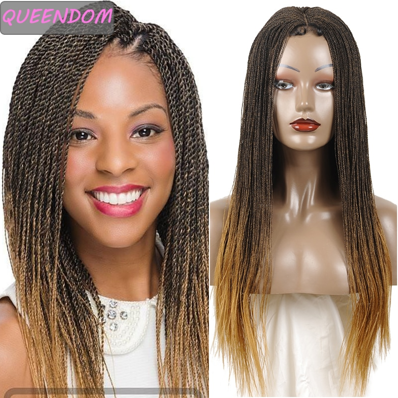 30 Inch Long Senegalese Twist Braided Lace Wigs Synthetic Lace Front Wig Heat Resistant Ombre Blonde Braided Wig for Black Women