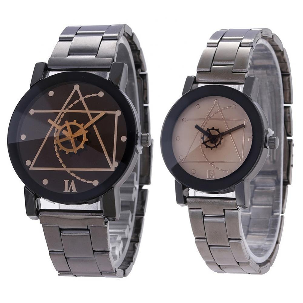 Simple Casual Men Women Watch Lovers Couple Gear Round Dial Stainless Steel Strap Analog Quartz Wris