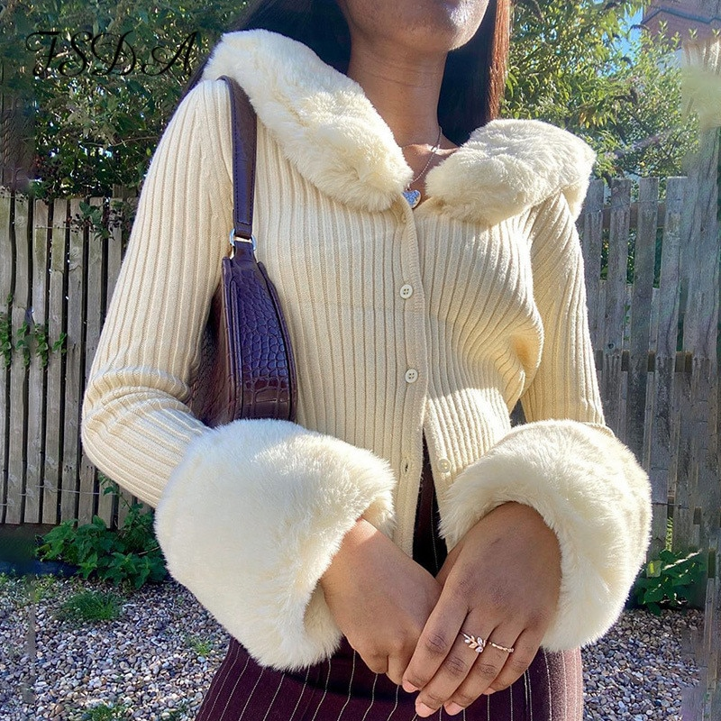 FSDA 2021 Long Sleeve Crop Cardigan Women Knitted Winter Autumn Brown With Fur Jumper Fashion Vintage Sweater Y2K
