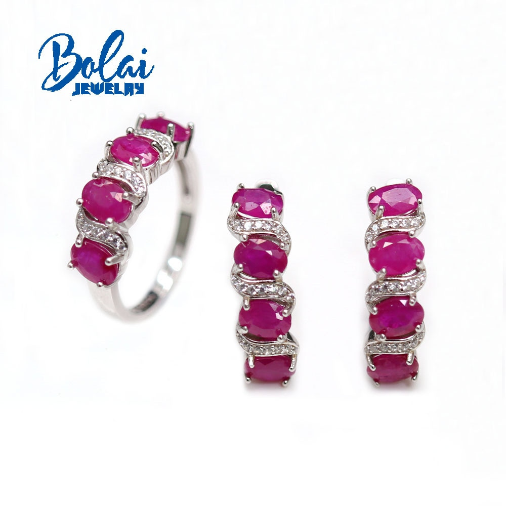 Get 2021 New Natural Ruby oval 4*6mm Set 925 Sterling Silver Ring Earrings Fine Jewelry Perfect gift for your loved one