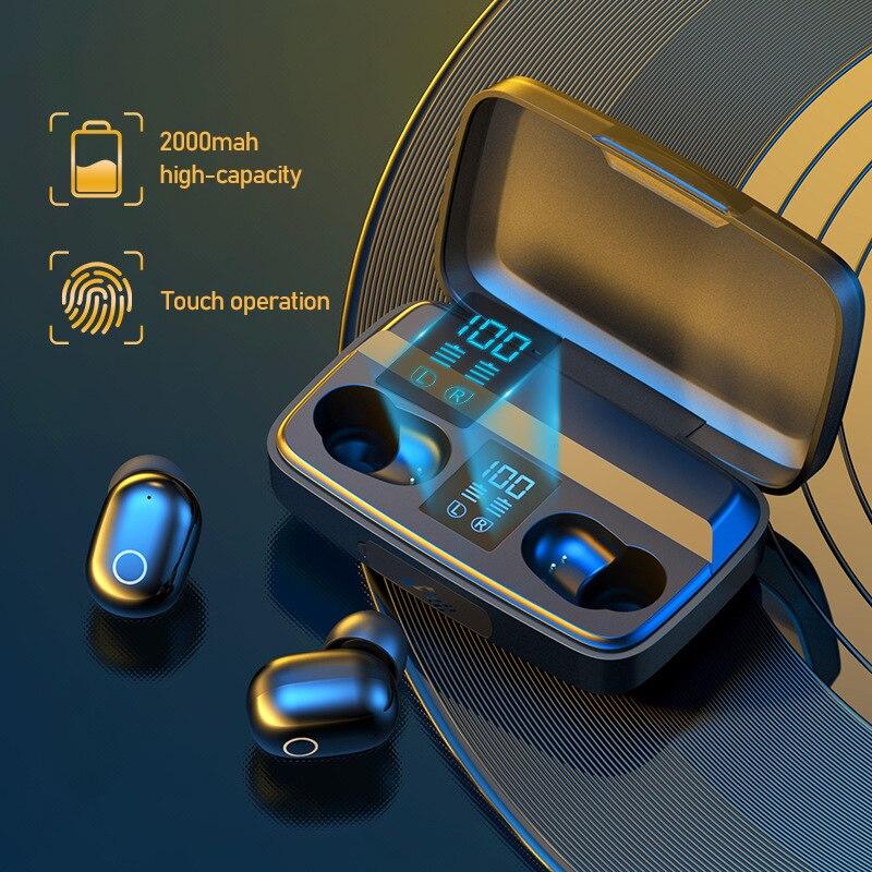 Alatour A10S Wireless Headphones 2000mAh power bank Bluetooth 5.0 Earphones Sport LED digital displa