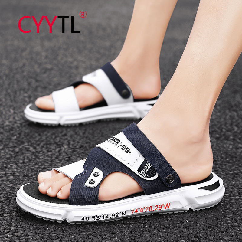 CYYTL Leather Sandals for Men Walking Slip on Comfort Slide Outdoor Leisure Business Summer Slippers Beach Sport Breathable Shoe