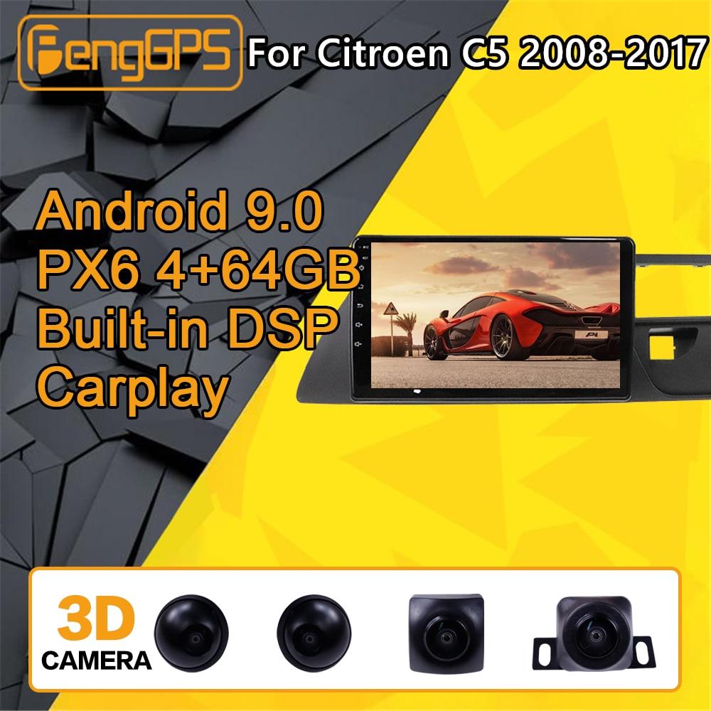 Pour Citroen C5 Android Radio voiture lecteur multimédia 2008 - 2017 stéréo PX6 Audio GPS Navigation tête unité Autoradio IPS caméra